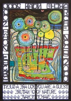 Hundertwasser's organic use of hand-drawn type and bold composition