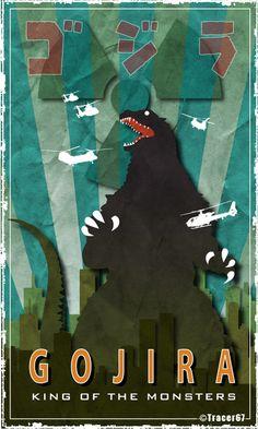 Gojira by on deviantART Cartoon Meme, Godzilla Birthday Party, Jr Art, Classic Monsters, King Kong, Pop Culture, Sci Fi, Nerd, Illustration