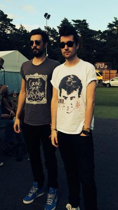 1/2 of Bastille; Dan & kyle | I saw the top of the tree above dan's head and I thought he had a Mohawk.
