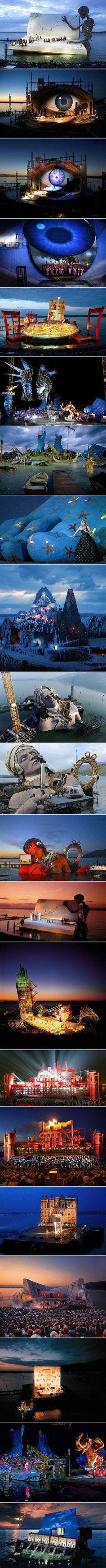 Located in Bregenz, Austria, the Seebuhne, a mind-blowing floating stage, boasts seating for 7,000, and often used for large-scale opera or musical performances over water on the shores of Lake Constance. Opera or musical productions on the floating stage generally tend to come from the popular operatic repertoire, but often are extravagantly original and innovative productions/ stagings, frequently using the waters of the lake as an extension of the stage.