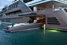 The 196-foot yacht has a hydraulic-operated hatch which can store an eight-metre speedboat without the use of a tender lift to hoist it out of the water