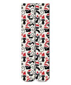 Another great find on #zulily! White Santa Cat Knee Socks #zulilyfinds