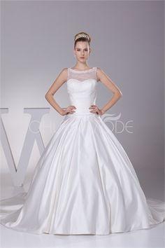 Robe de mariée ballon rétro ornée de paillettes en satin et dentelle