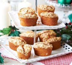 A little like muffin, but with a light, almond middle and a chewy top - full of festive flavours like nuts, cinnamon and cardamom Bbc Good Food Recipes, Baking Recipes, Cake Recipes, Bbc Recipes, Mini Tortillas, Christmas Cooking, Christmas Desserts, Christmas Recipes, Christmas Ideas