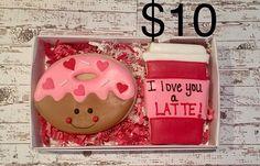 valnetines day sugar cookies/ Coffee and Donut cookie Set/