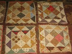 """~ Antique Quilt Squares ~ Women as a group would each make and complete a  quilt square, then whip-stitch them all together, in what is known as a """"potholder"""" quilt ~"""