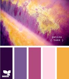 Purple, dusty purple, magenta, pink, mustard. Vanna's Choice