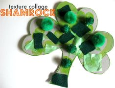 10+ Fun St. Patrick's Day Crafts and Activities for Kids: Texture collage shamrock