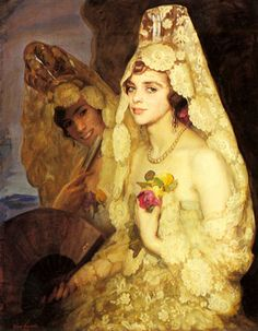 Polish Paintings, Art, Painting, Art Pictures, antonio pedro two elegant ladies holding fans Spanish Woman, Spanish Ladies, Spanish Painters, Spanish Artists, Angel Art, Andalusia, Mellow Yellow, Artist Painting, Elegant Woman
