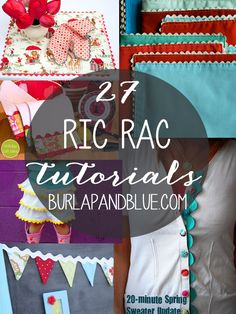 27 ric rac crafts and tutorials Sewing Hacks, Sewing Tutorials, Sewing Patterns, Sewing Tips, Sewing Ideas, Free Tutorials, Fabric Crafts, Sewing Crafts, Sewing Projects