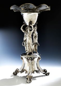 Large English Silver Centerpiece with Glass Insert, 19th C.