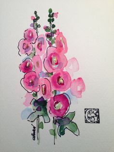 Grandma's Hollyhocks Watercolor Card por gardenblooms en Etsy