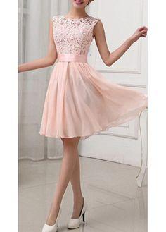 Fashion Lace Splicing Chiffon Knee Length Dress - Pink