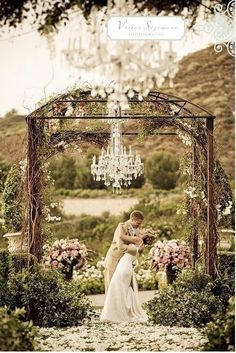 Love outdoor chandelier for weddings.. Very romantic