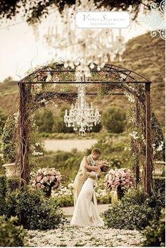 Love outdoor chandelier for weddings.. Very romantic