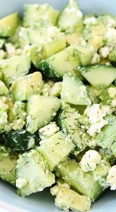 Cucumber Avocado and Feta Salad Recipe on twopeasandtheirpod.com This easy and healthy salad only takes minutes to make! It is a great salad for potlucks, parties, or busy weeknights.