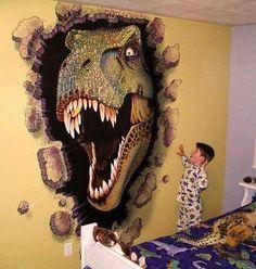 23 Clever DIY Christmas Decoration Ideas By Crafty Panda Boys Dinosaur Bedroom, Dinosaur Room Decor, Dinosaur Wallpaper, Dinosaur Pictures, Wall Decor Pictures, Girl Decor, Wall Art Designs, Wood Art, Diy Bedroom Decor