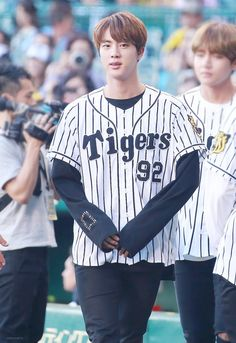 bts jin // hanshin tigers baseball game