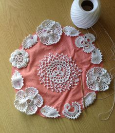 I am working on the piece of Clones irish crochet lace with the help of my teacher Maire Treanor.