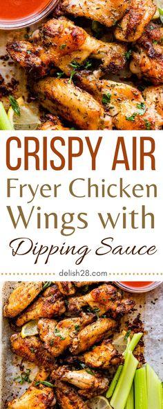 Air Fryer Wings, Air Fryer Chicken Wings, Cod Recipes, Great Recipes, Healthy Recipes, Healthy Foods, Chicken Wing Dipping Sauce, Pineapple Chicken