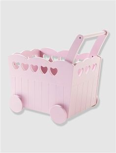 Fahrbare Spielzeugkiste mit Herzen ROSA+WEIß