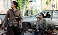 Steven Yeun as Glenn Rhee and Michael Traynor as Nicholas – The Walking Dead _ Season Episode 3 – Photo Credit: Gene Page/AMC Walking Dead Season 6, Walking Dead Tv Series, The Walking Dead Tv, Andrew Lincoln, Sonequa Martin Green, Steven Yeun, Rick Grimes, Norman Reedus, Brazil