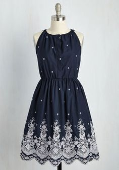 Mediterranean Meditations Dress. The sunlit coast inspires your poise, but its the feeling you experience in this navy dress that incites your peaceful reflections. #blue #modcloth