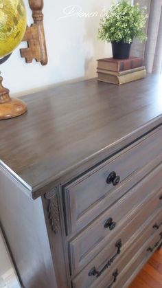 bronze gray dresser general finishes milk paint glaze GF in driftwood and glaze in van dyke