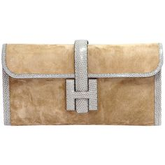 Pre-owned HERMES Jigé 'Marron glacé' suede and lizard ($7,400) ❤ liked on Polyvore featuring bags, handbags, clutches, handbags and purses, lizard handbag, hermes handbags, hermes pochette, hermès and hermes clutches