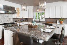 Granite tops a kitchen island