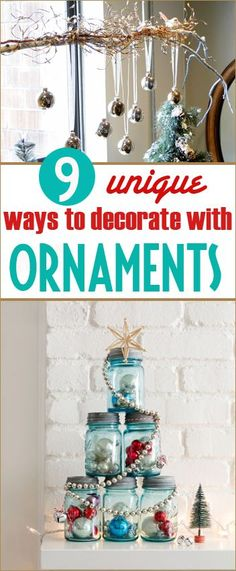 9 Ways to Decorate with Ornaments. Create festive home decor with these unique decorating ideas using ornaments. Fill your home with the Christmas Spirit!