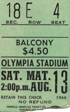 My ticket stub from seeing the Beatles in Detroit in 1966. It was my first, and best ever, concert.