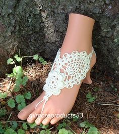 Flowered lace barefoot sandals shoes beach anklets foot jewelry wedding accessories - pinned by pin4etsy.com