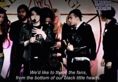 """""""From the bottom of our black little hearts"""" I'm going to have to use that"""