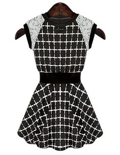 Fashionable Round Collar Checked Print Lace Splicing Sleeveless Dress For Women in Black | Sammydress.com