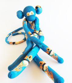 Sock Monkey-Blue-Retro Roller Skates-Handmade-Monkey-Wings, Roller Derby-Derby-Skates-Novelty, Plushie, Desk, Bed, Shelf, Nursery Decor by MissysMonkeys on Etsy
