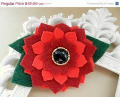 ON SALE Christmas Hairclip  Felt Flower Headband  by poppyandmum, $7.20
