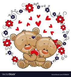 Two Cute Bears. Two cute cartoon Bears on a flowers background stock illustration Cute Cartoon Animals, Bear Cartoon, Bear Vector, Vector Art, Vector Stock, Sunflower Coloring Pages, Urso Bear, Cute Disney Drawings, Imagenes De Amor