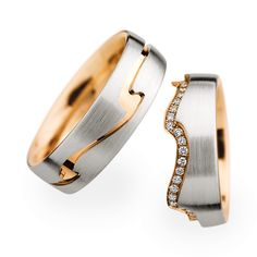 Platinum and Rose Gold matching wedding bands with a unique wave design.  What do you think about this distinctive look?  www.Christian-Bauer.co.uk.  #ChristianBauerUK