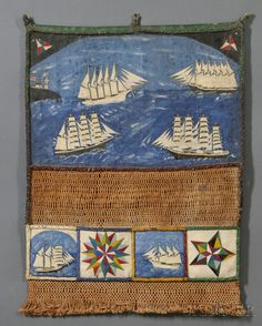 Sailor's Paint-decorated Canvas and Macrame Wall Pocket ~ late 19th C