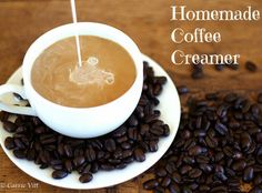 Homemade Coffee Creamer with recipes for flavors like Peppermint Mocha, French Vanilla, and Pumpkin Spice!