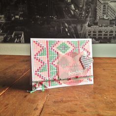 "Friendship Beads Card. Cardstock: SU; vellum: Folia; stamps: Altenew (""Modern Beadwork""); ink: SU; Glossy Accents; twine & beads from my stash."