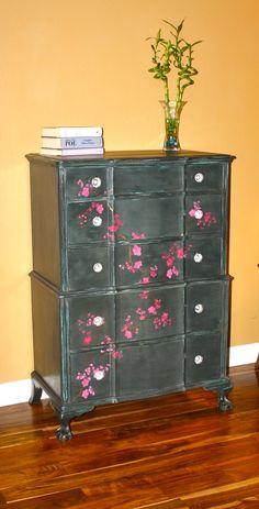 Cherry Blossom stencil on tall dresser by Elizabeth Heim.