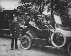Prince Andreii Alexandrovich with his brothers 1915. From left: Prince Dmitri, Prince Feodor, Prince Nikita, Prince Andreii at the wheel, Prince Rostislav and Prince Vasili.