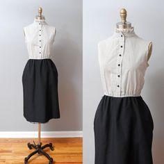1980s Dress  Black Pinstripe Ruffle by OldFaithfulVintage on Etsy, $40.00