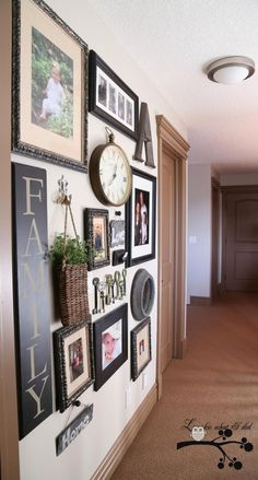 Hallway wall art hall maybe home decor hall gallery wall and walls wall art for hallways . Family Wall Decor, Living Room Decor, Living Rooms, Family Rooms, Wall Design, House Design, Picture Arrangements, Hallway Decorating, Decorating Ideas