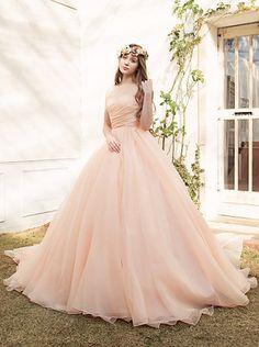 ウエディングドレスショップ シンデレラ(Wedding Dress Shop Cinderella)  サーモンピンクのカラードレス SS4187AP