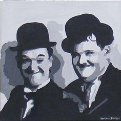 Tableau design portrait Laurel et Hardy - 35 € Laurel Et Hardy, Comedy Duos, Tableau Design, Caricatures, Rock N Roll, Faces, Portraits, Icons, Etsy