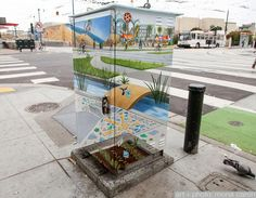 A Utility Box Painted to Blend into the Environment