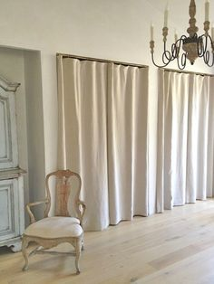 Patina Farm Master Closet (curtains, not doors -they are softer and provide easier access) Curtains For Closet Doors, Old Closet Doors, Bedroom Closet Doors, Master Closet, Curtain Closet, Ikea Closet, Linen Curtains, High Curtains, Natural Curtains